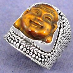 NATURAL BROWN TIGERS EYE 925 SILVER LAUGHING BUDDHA RING JEWELRY SIZE 6 H8676