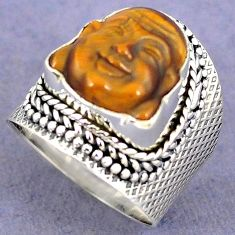 NATURAL BROWN TIGERS EYE 925 SILVER LAUGHING BUDDHA RING JEWELRY SIZE 7 H8677