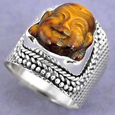 NATURAL BROWN TIGERS EYE 925 SILVER LAUGHING BUDDHA RING JEWELRY SIZE 6.5 H8680