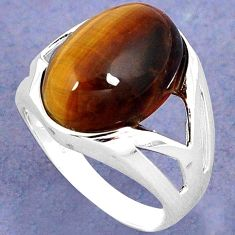 NATURAL BROWN TIGERS EYE 925 STERLING SILVER SOLITAIRE RING SIZE 6.5 H28003