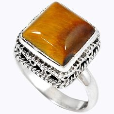 Natural brown tigers eye 925 sterling silver solitaire ring size 7.5 h67189