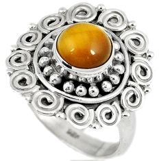 Natural brown tigers eye 925 sterling silver solitaire ring size 6.5 h68619