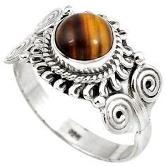 Natural brown tigers eye 925 sterling silver solitaire ring size 8.5 h68640