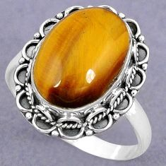 NATURAL BROWN TIGERS EYE 925 STERLING SILVER SOLITAIRE RING JEWELRY SIZE 8 H8181