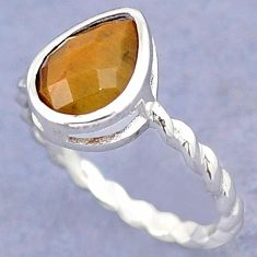 NATURAL BROWN TIGERS EYE 925 STERLING TWISTED DESIGN SILVER RING SIZE 7.5 H28055