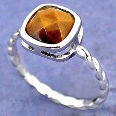 NATURAL BROWN TIGERS EYE 925 STERLING TWISTED SILVER RING JEWELRY SIZE 6 H28012
