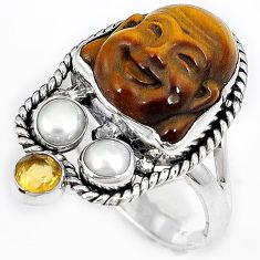 NATURAL BROWN TIGERS EYE CITRINE 925 SILVER LAUGHING BUDDHA RING SIZE 9 H23633