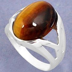 NATURAL BROWN TIGERS EYE OVAL 925 STERLING SILVER RING JEWELRY SIZE 8 H28028