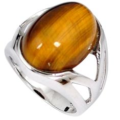 Natural brown tigers eye oval 925 sterling silver ring jewelry size 7 h49391