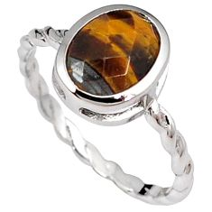 Natural brown tigers eye oval 925 sterling silver ring jewelry size 6.5 h49409