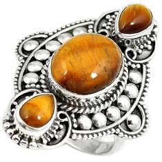 Natural brown tigers eye oval 925 sterling silver ring jewelry size 8 h68492