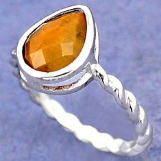 NATURAL BROWN TIGERS EYE PEAR 925 STERLING TWISTED SILVER RING SIZE 8.5 H28013