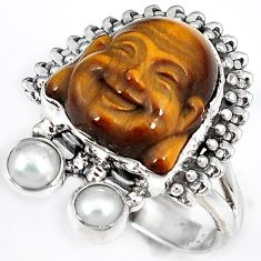 NATURAL BROWN TIGERS EYE PEARL 925 SILVER LAUGHING BUDDHA RING SIZE 7.5 H23623