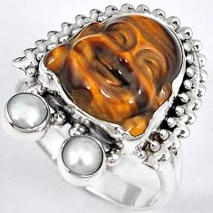 NATURAL BROWN TIGERS EYE PEARL 925 SILVER LAUGHING BUDDHA RING SIZE 7.5 H23625