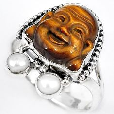 NATURAL BROWN TIGERS EYE PEARL 925 SILVER LAUGHING BUDDHA RING SIZE 9.5 H23627