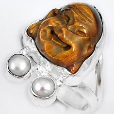 NATURAL BROWN TIGERS EYE PEARL 925 SILVER LAUGHING BUDDHA RING SIZE 6.5 H23628