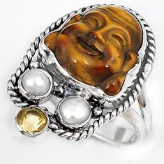 NATURAL BROWN TIGERS EYE PEARL 925 SILVER LAUGHING BUDDHA RING SIZE 7 H23629