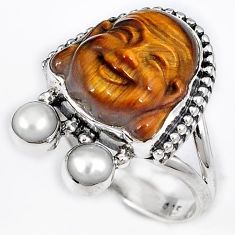 NATURAL BROWN TIGERS EYE PEARL 925 SILVER LAUGHING BUDDHA RING SIZE 6.5 H23630