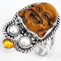 NATURAL BROWN TIGERS EYE PEARL 925 SILVER LAUGHING BUDDHA RING SIZE 6.5 H23632