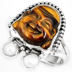 NATURAL BROWN TIGERS EYE PEARL 925 SILVER LAUGHING BUDDHA RING SIZE 7 H23634