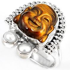 NATURAL BROWN TIGERS EYE PEARL 925 SILVER LAUGHING BUDDHA RING SIZE 8.5 H23635