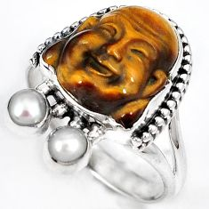 NATURAL BROWN TIGERS EYE PEARL 925 SILVER LAUGHING BUDDHA RING SIZE 9.5 H23636