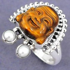 NATURAL BROWN TIGERS EYE PEARL 925 SILVER LAUGHING BUDDHA RING SIZE 7 H8674