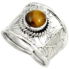 Natural brown tigers eye round 925 sterling silver ring jewelry size 7 h68631