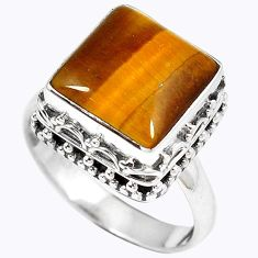 Natural brown tigers eye square 925 sterling silver ring jewelry size 8 h67167