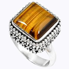 Natural brown tigers eye square 925 sterling silver ring jewelry size 6.5 h67173