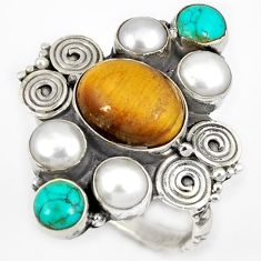 NATURAL BROWN TIGERS EYE TURQUOISE PEARL 925 STERLING SILVER RING SIZE 8 H23913