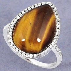NATURAL BROWN TIGERS EYE WHITE TOPAZ 925 STERLING SILVER RING SIZE 8 H28468