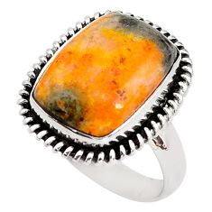 Natural bumble bee australian jasper 925 silver solitaire ring size 9 p85787