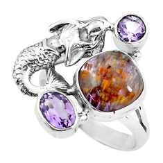 Natural cacoxenite super seven 925 silver fairy mermaid ring size 9.5 p61137