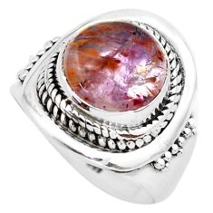 5.58cts natural cacoxenite super seven 925 silver solitaire ring size 7 p74290