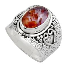 4.38cts natural cacoxenite super seven 925 silver solitaire ring size 8 p89408