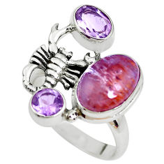 7.36cts natural cacoxenite super seven silver scorpion charm ring size 8 p42598