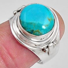 6.03cts natural campitos turquoise 925 silver solitaire ring size 7.5 p89854