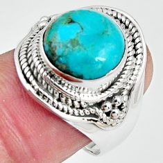 6.48cts natural campitos turquoise 925 silver solitaire ring size 8.5 p89856