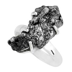 19.23cts natural campo del cielo (meteorite) 925 silver ring size 8 p68992