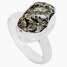 Natural campo del cielo (meteorite) 925 silver solitaire ring size 5 p74807