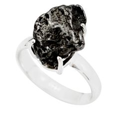 9.63cts natural campo del cielo (meteorite) silver solitaire ring size 8 p87201