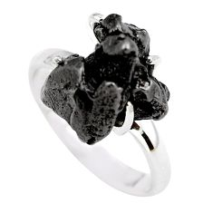 10.23cts natural campo del cielo (meteorite) silver solitaire ring size 8 p87202