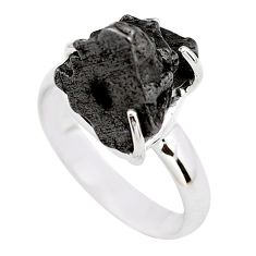 9.93cts natural campo del cielo (meteorite) silver solitaire ring size 7 p87203