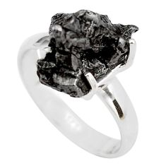 7.79cts natural campo del cielo (meteorite) silver solitaire ring size 7 p87207