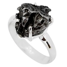 7.75cts natural campo del cielo (meteorite) silver solitaire ring size 7 p87208
