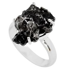 10.02cts natural campo del cielo (meteorite) silver solitaire ring size 7 p87216