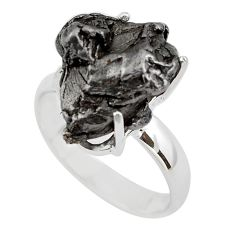 12.24cts natural campo del cielo (meteorite) silver solitaire ring size 7 p87219