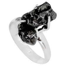 9.58cts natural campo del cielo (meteorite) silver solitaire ring size 7 p87224