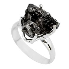 10.03cts natural campo del cielo (meteorite) silver solitaire ring size 7 p87225
